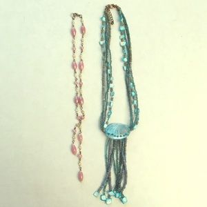 Jewelry - Two beaded necklaces - blue shell & pink white